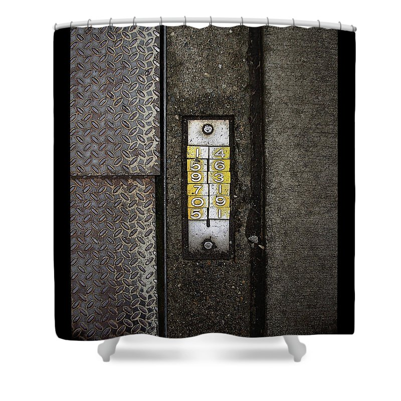 Numbers Shower Curtain featuring the photograph Numbers On The Sidewalk by Tim Nyberg