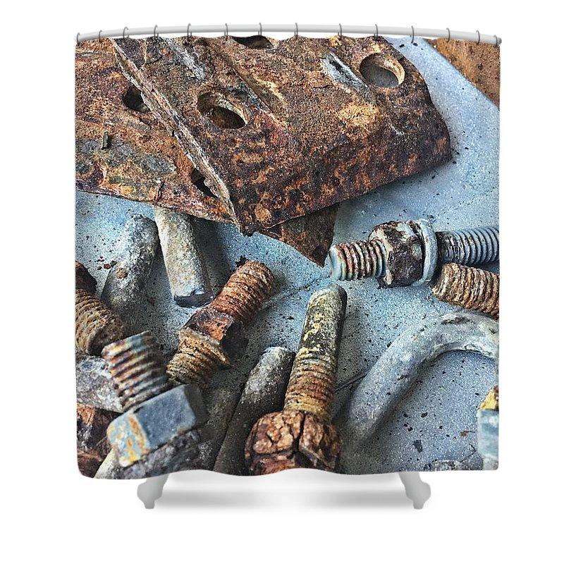 Shower Curtain featuring the photograph Nuts And Bolts by Elizabeth Harllee