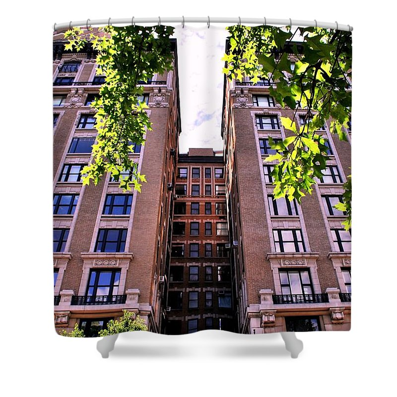 City Shower Curtain featuring the photograph Nyc Building With Tree Overhang by Matt Harang
