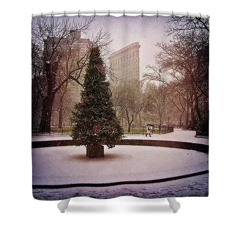 Christmas Shower Curtain featuring the photograph Nyc Christmas by Chris Lord