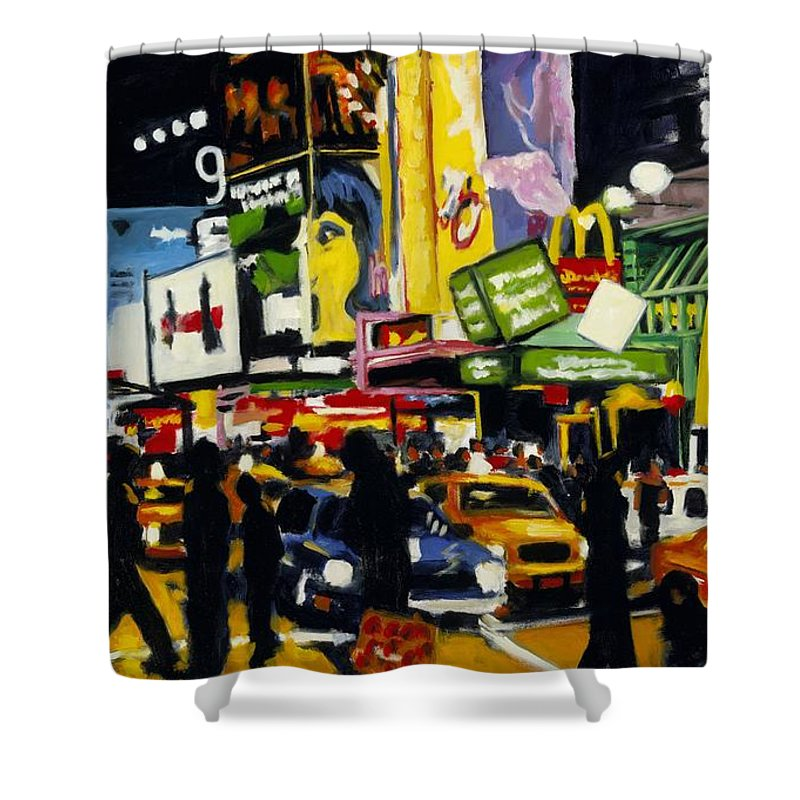 New York Shower Curtain featuring the painting Nyc II The Temple Of M by Robert Reeves