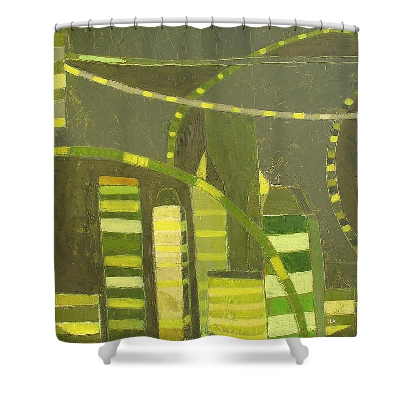 Nyc Shower Curtain featuring the painting Nyc In Deep Green by Habib Ayat