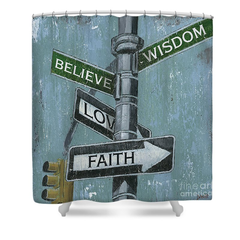 Vintage Shower Curtain featuring the painting Nyc Inspiration 2 by Debbie DeWitt