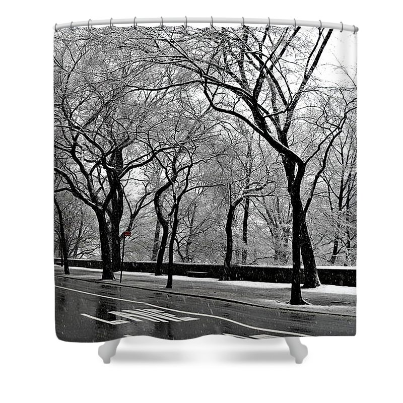 Winter Landscapes Shower Curtain featuring the photograph Nyc Winter Wonderland by Vannetta Ferguson