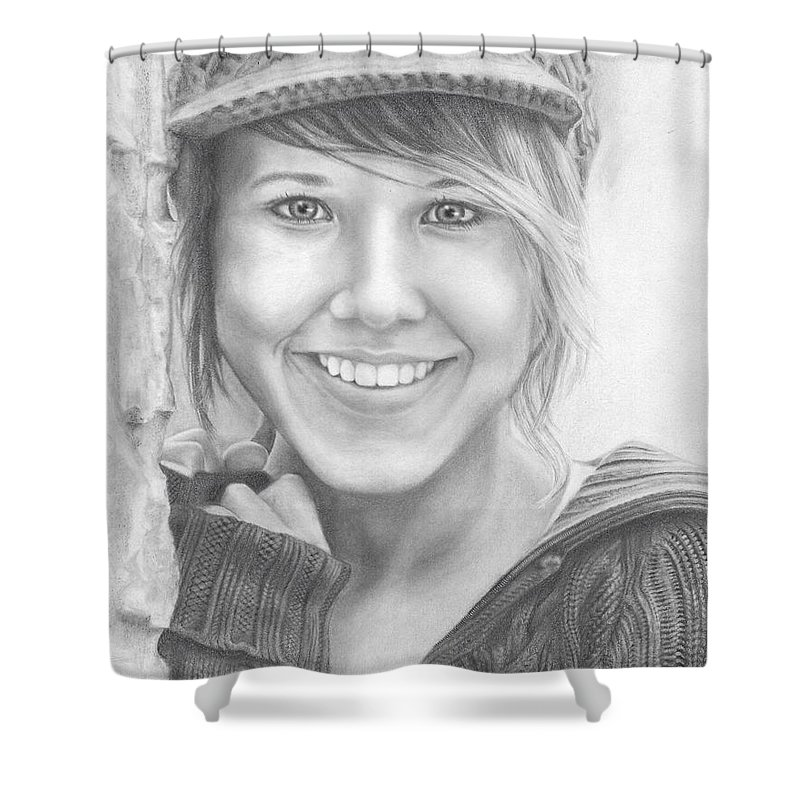 Nyla Shower Curtain featuring the drawing Nyla Stormy by Nicole Flett