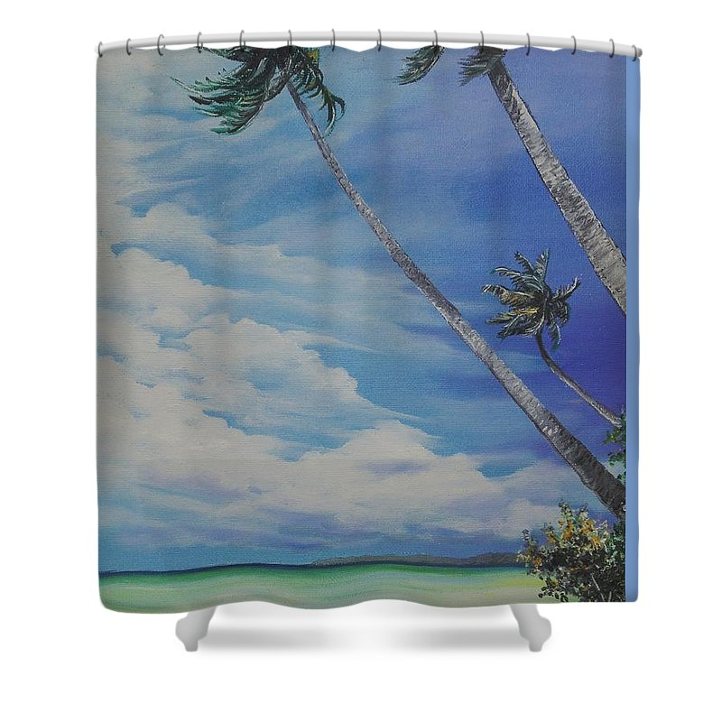 Ocean Painting Seascape Painting Beach Painting Palm Tree Painting Clouds Painting Tobago Painting Caribbean Painting Sea Beach T Obago Palm Trees Shower Curtain featuring the painting Nylon Pool Tobago. by Karin Dawn Kelshall- Best