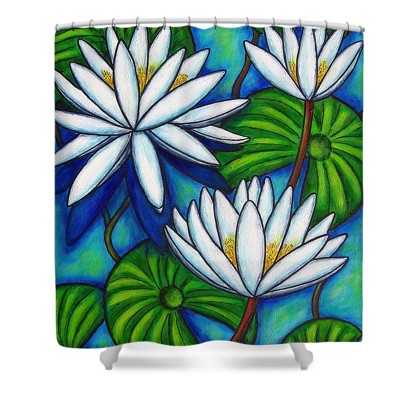 Lily Shower Curtain featuring the painting Nymphaea Blue by Lisa Lorenz