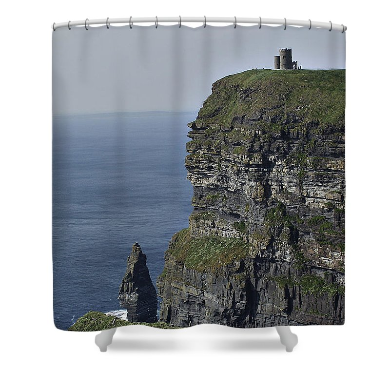 Irish Shower Curtain featuring the photograph O Brien's Tower At The Cliffs Of Moher Ireland by Teresa Mucha
