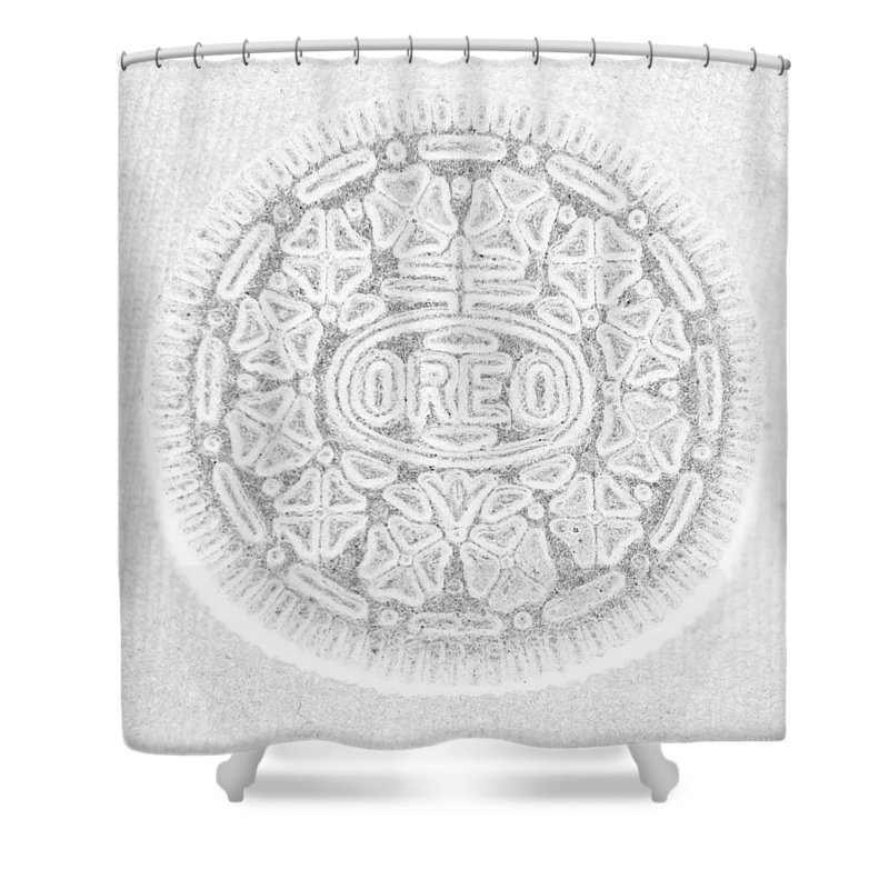 Oreo Shower Curtain featuring the photograph O R E O In White by Rob Hans