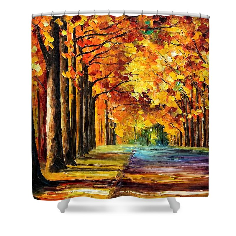 Afremov Shower Curtain featuring the painting Oak Alley by Leonid Afremov