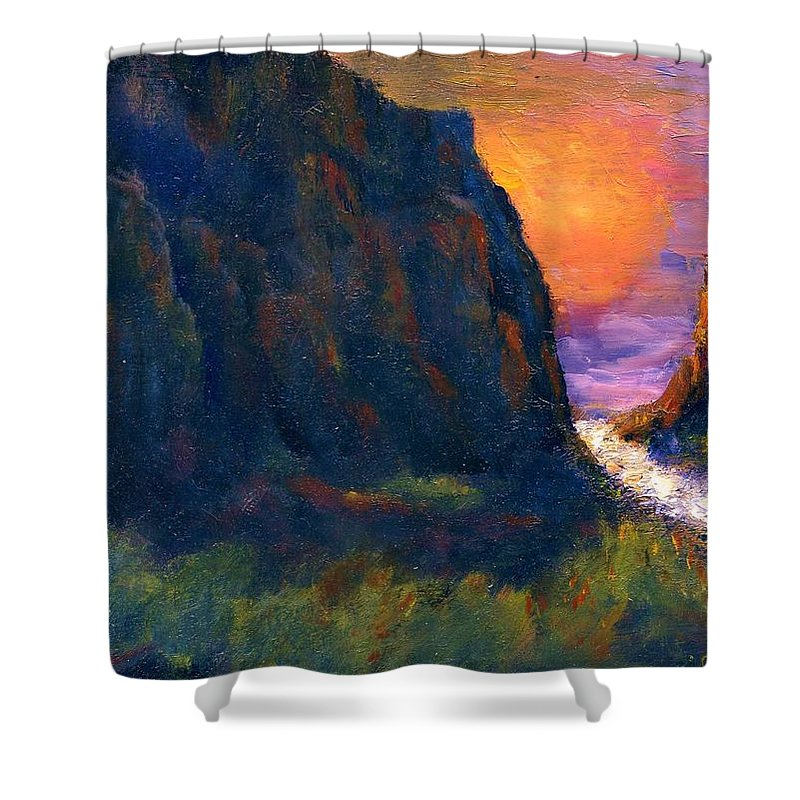 Impressionistic Shower Curtain featuring the painting Oak Creek Canyon by Gail Kirtz