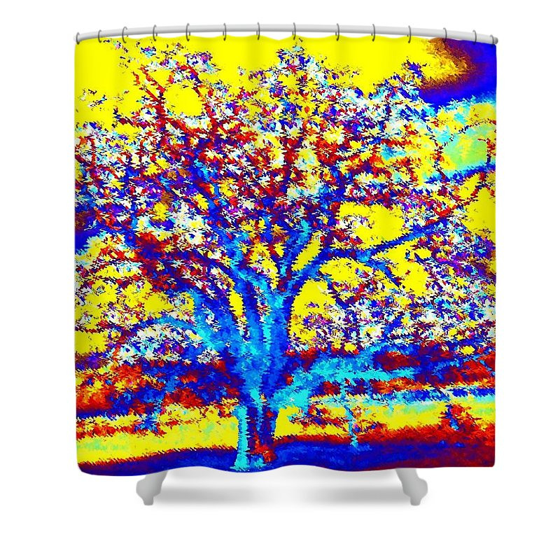 Willborden Shower Curtain featuring the digital art Oak Tree by Will Borden