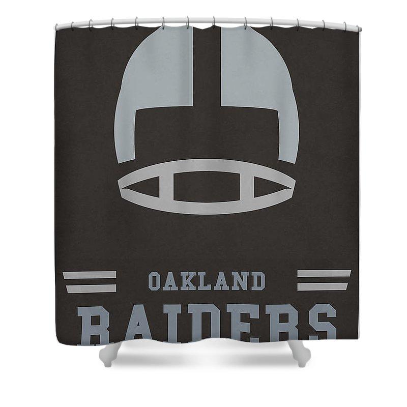 Raiders Shower Curtain Featuring The Mixed Media Oakland Vintage Nfl Art By Joe Hamilton