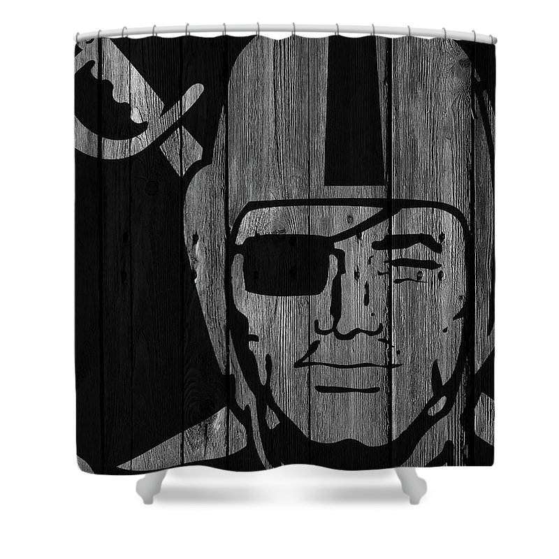 Oakland Raiders Shower Curtain Featuring The Photograph Wood Fence By Joe Hamilton