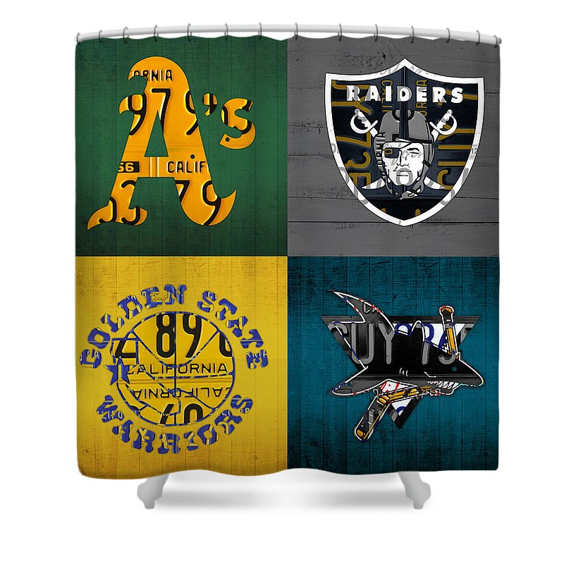 Oakland Shower Curtain Featuring The Mixed Media Sports Fan Recycled Vintage California License Plate Art