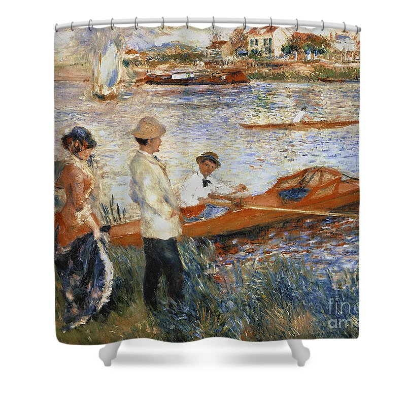 Oarsmen At Chatou Shower Curtain featuring the painting Oarsmen at Chatou by Pierre Auguste Renoir