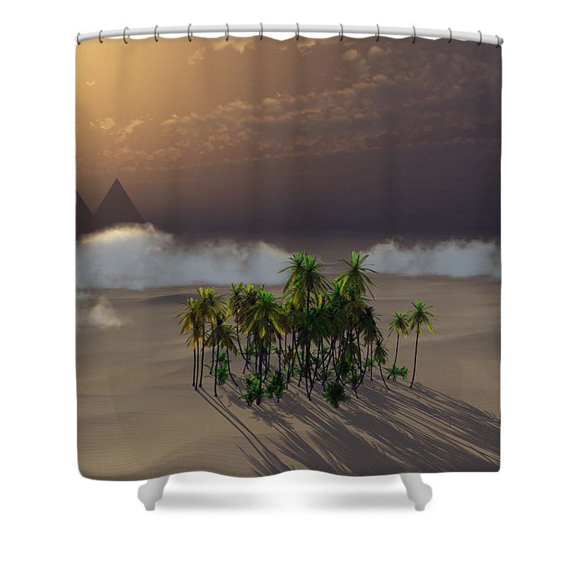 Deserts Shower Curtain featuring the digital art Oasis by Richard Rizzo