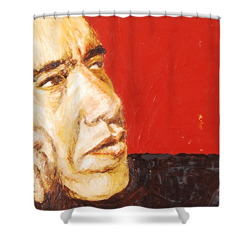 Obama Shower Curtain featuring the painting Obama by Lauren Luna