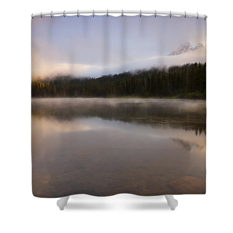 Mt. Rainier Shower Curtain featuring the photograph Obscured Dawn by Mike Dawson