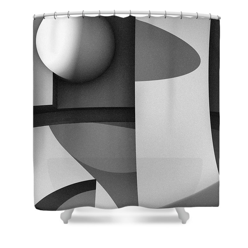 Abstract Shower Curtain featuring the digital art Obscured Relations by Richard Rizzo