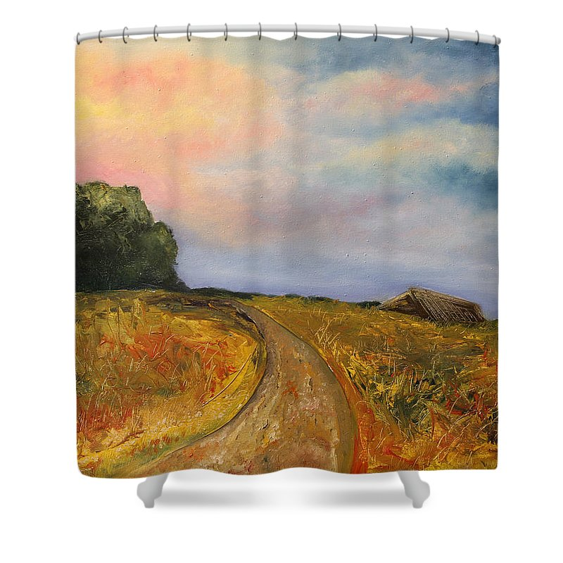 Landscape Shower Curtain featuring the painting Obviously Covered by Darko Topalski