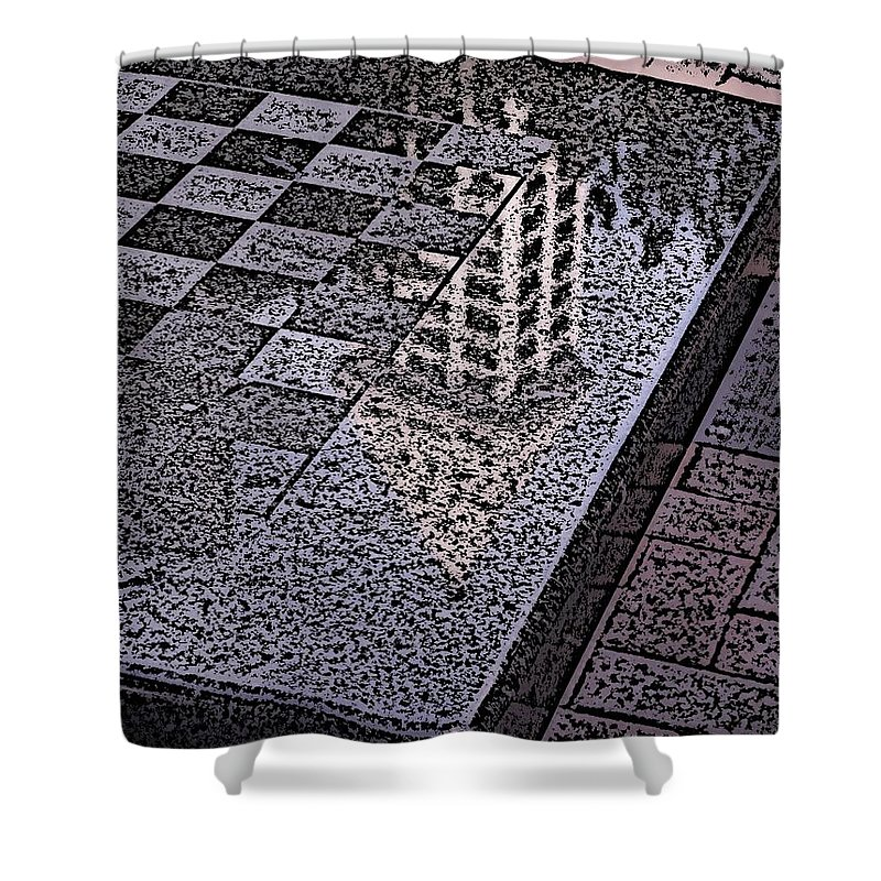 Seattle Shower Curtain featuring the digital art Occidental Park Checkerboard by Tim Allen