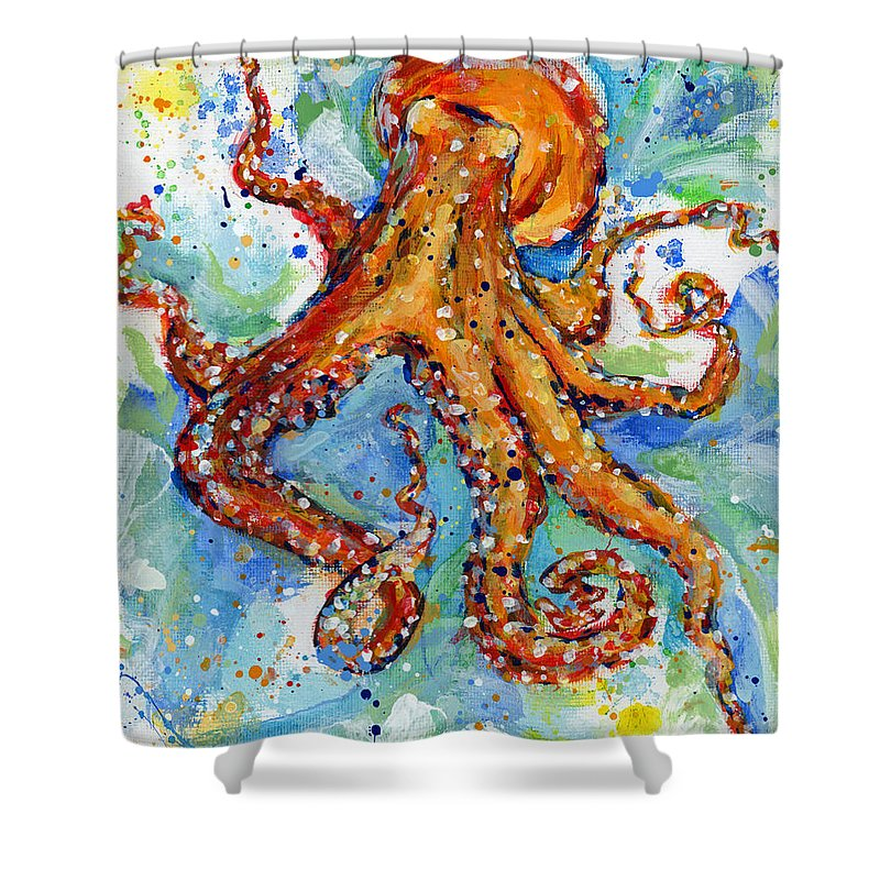 Octopus Shower Curtain featuring the painting Occy by Arleana Holtzmann