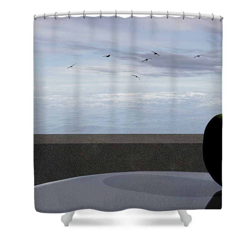 Modern Shower Curtain featuring the digital art Ocean Balcony by Richard Rizzo