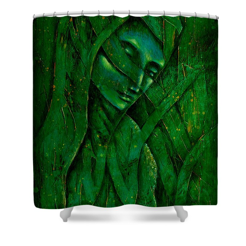 Native American Shower Curtain featuring the painting Ocean Birth by Kevin Chasing Wolf Hutchins