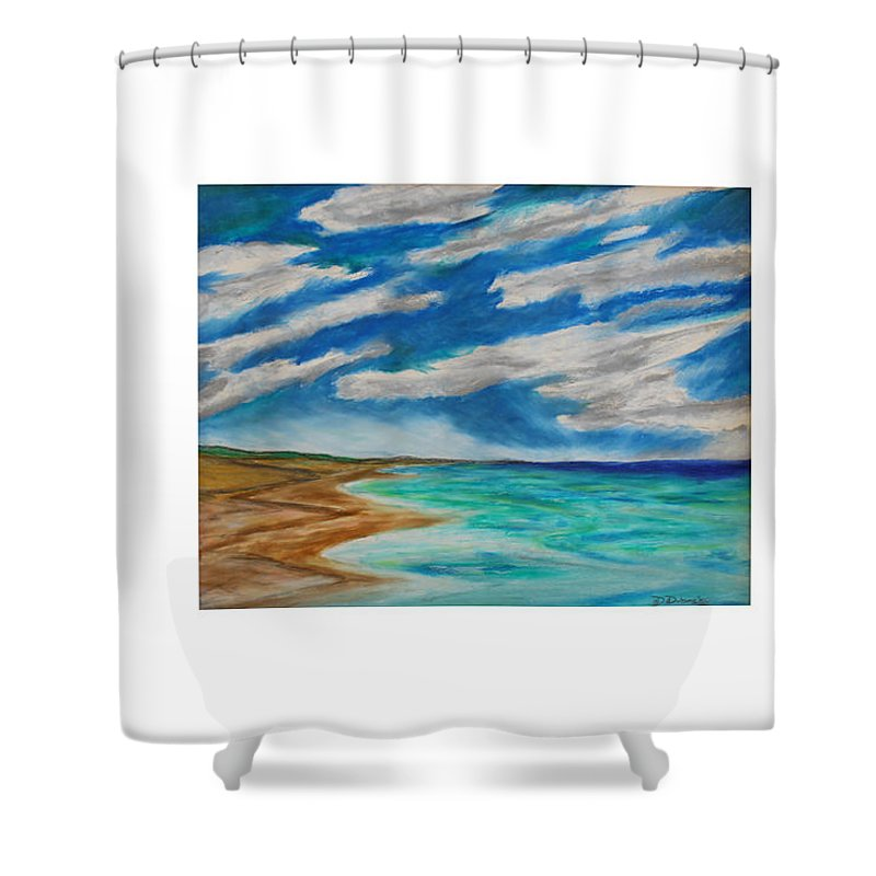 Ocean Beach Sand Tide Waves Sky Coastal Dunes Blue Green Morning Walk Pastel Shower Curtain featuring the painting Ocean Clouds by Daniel Dubinsky