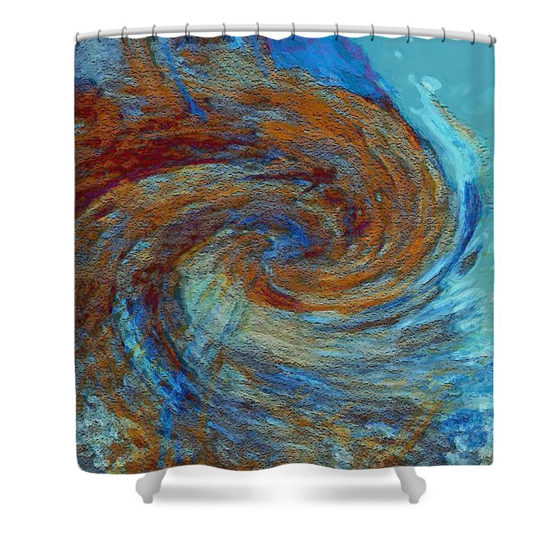 Hurricane Shower Curtain featuring the digital art Ocean Colors by Linda Sannuti