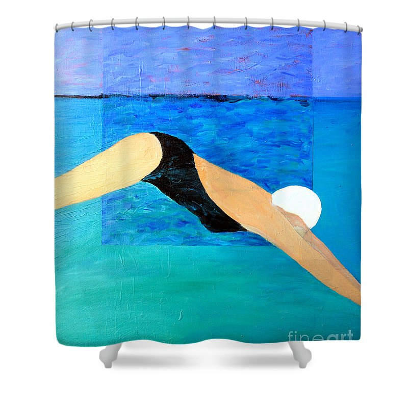 Water Shower Curtain featuring the painting Ocean Dive by Lisa Baack
