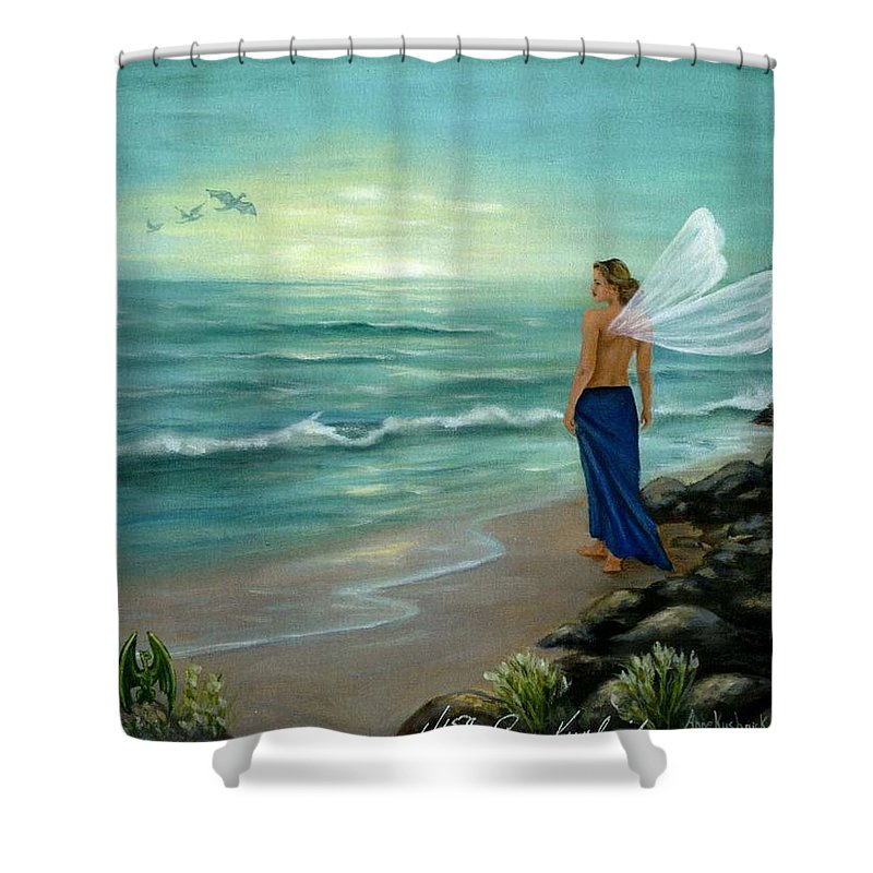 Fairy Shower Curtain featuring the painting Ocean Fairy by Anne Kushnick