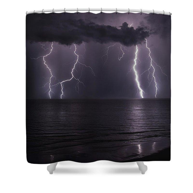 Beach Shower Curtain featuring the photograph Ocean Fireworks by Jimmy McDonald