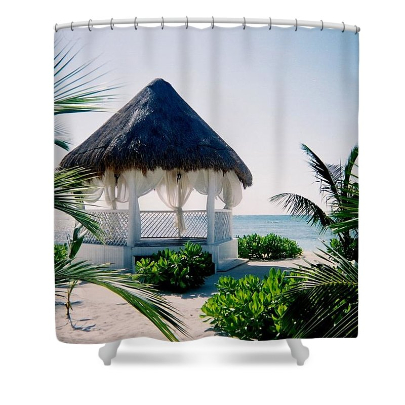 Resort Shower Curtain featuring the photograph Ocean Gazebo by Anita Burgermeister