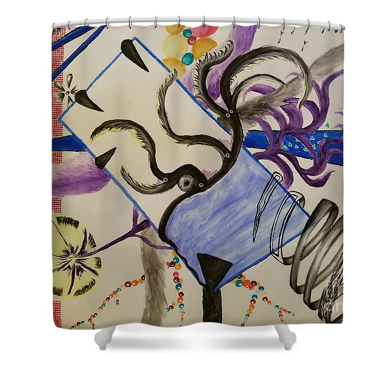 Abstract Shower Curtain featuring the mixed media Ocean Gazer by David Lou