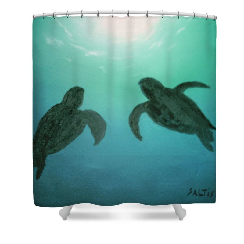 Turtles Acending Into The Surface Light From The Ocean Deep. Shower Curtain featuring the painting Ocean Light by Jim Saltis