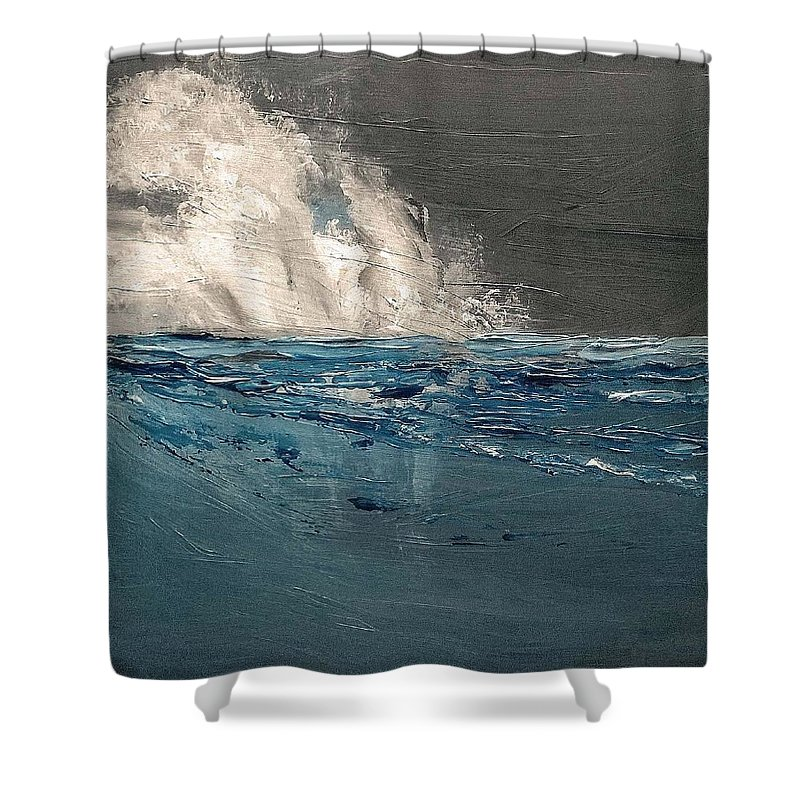 Ocean Shower Curtain featuring the painting Ocean Night's Song by PJ McNally