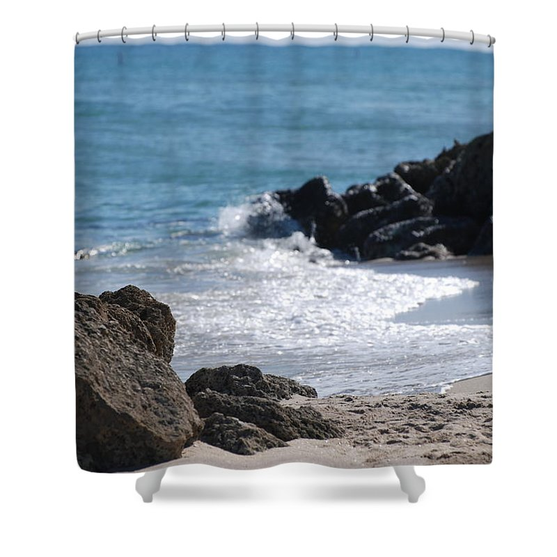 Sea Scape Shower Curtain featuring the photograph Ocean Rocks by Rob Hans