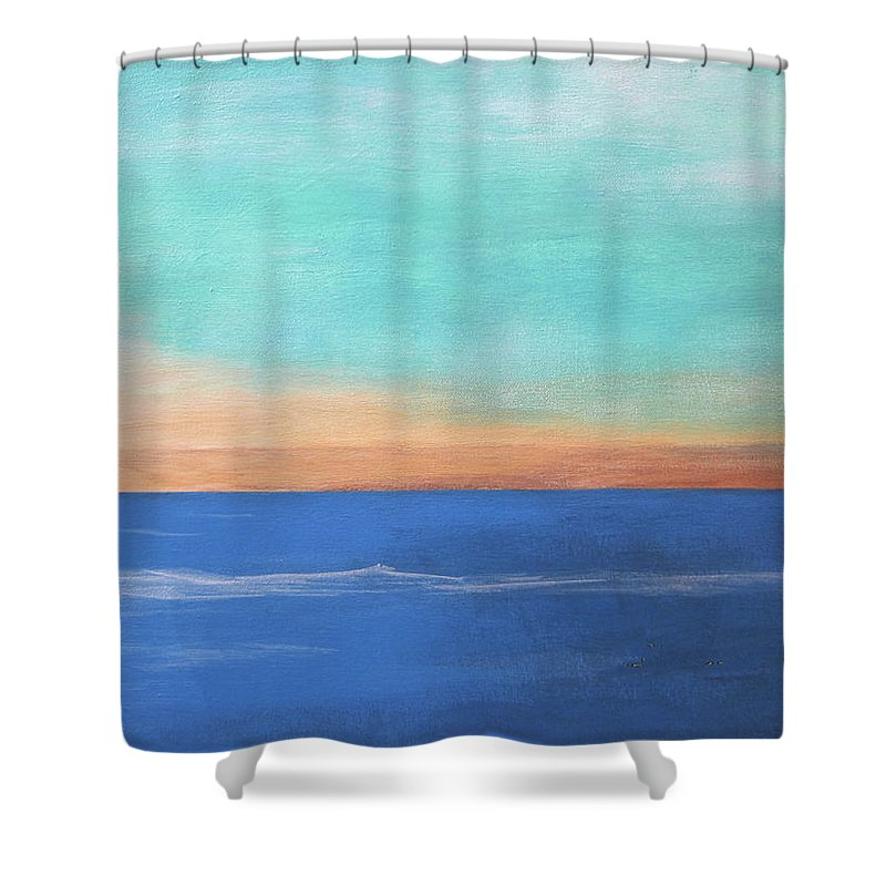 Abstract Ocean Shower Curtain featuring the painting Ocean by Rolf Eriksen
