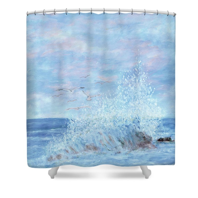 Gulls Shower Curtain featuring the painting Ocean Spray by Ben Kiger