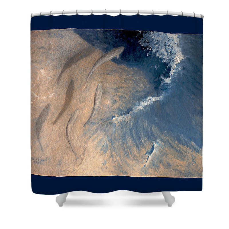 Seascape Shower Curtain featuring the painting Ocean by Steve Karol
