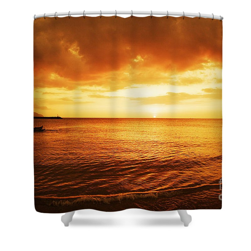Beach Shower Curtain featuring the photograph Ocean Sunset by Vince Cavataio - Printscapes
