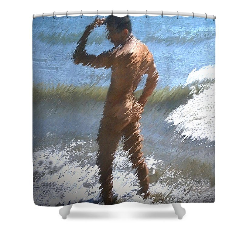 Nudes Shower Curtain featuring the photograph Ocean Thoughts by Kurt Van Wagner