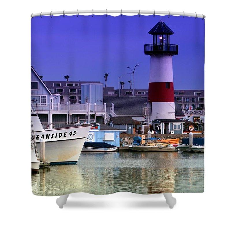 Lighthouse Shower Curtain featuring the photograph Oceanside Light by DJ Florek