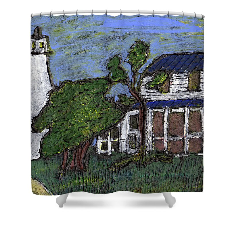 Light House Shower Curtain featuring the painting Ocracoke Island Light House by Wayne Potrafka