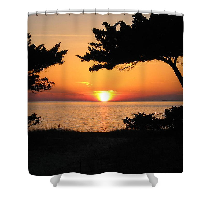 Ocracoke Shower Curtain featuring the photograph Ocracoke Island Winter Sunset by Wayne Potrafka