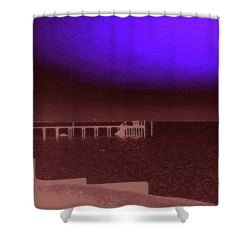 Ocracoke Shower Curtain featuring the photograph Ocracoke Shoreline Pier by Wayne Potrafka