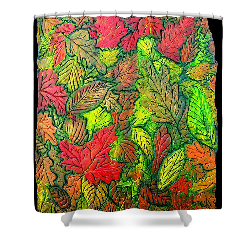 Leaves Shower Curtain featuring the painting October 21st. by Wayne Potrafka