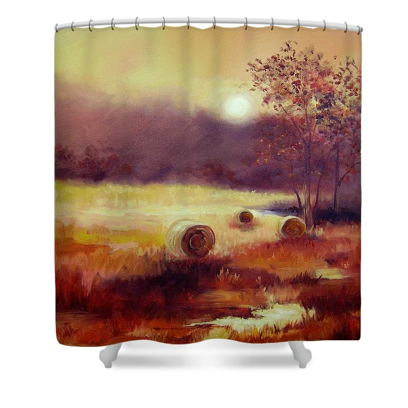Fall Landscapes Shower Curtain featuring the painting October Pasture by Ginger Concepcion